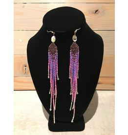 Evans, Amber Beaded Long Purple Earring
