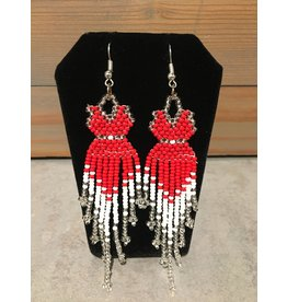Evans, Amber Red Dress Silver/White Beaded Earring