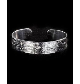 "Harper Victoria Wolf Sun Raven Silver Bracelet 1/2"""