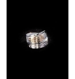 Harper Victoria Wolf Silver & Gold Wrap Ring