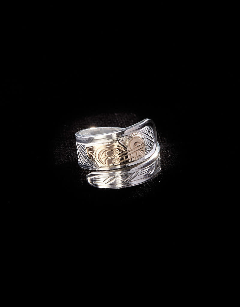 Harper Victoria Wolf Silver & Gold Wrap Ring