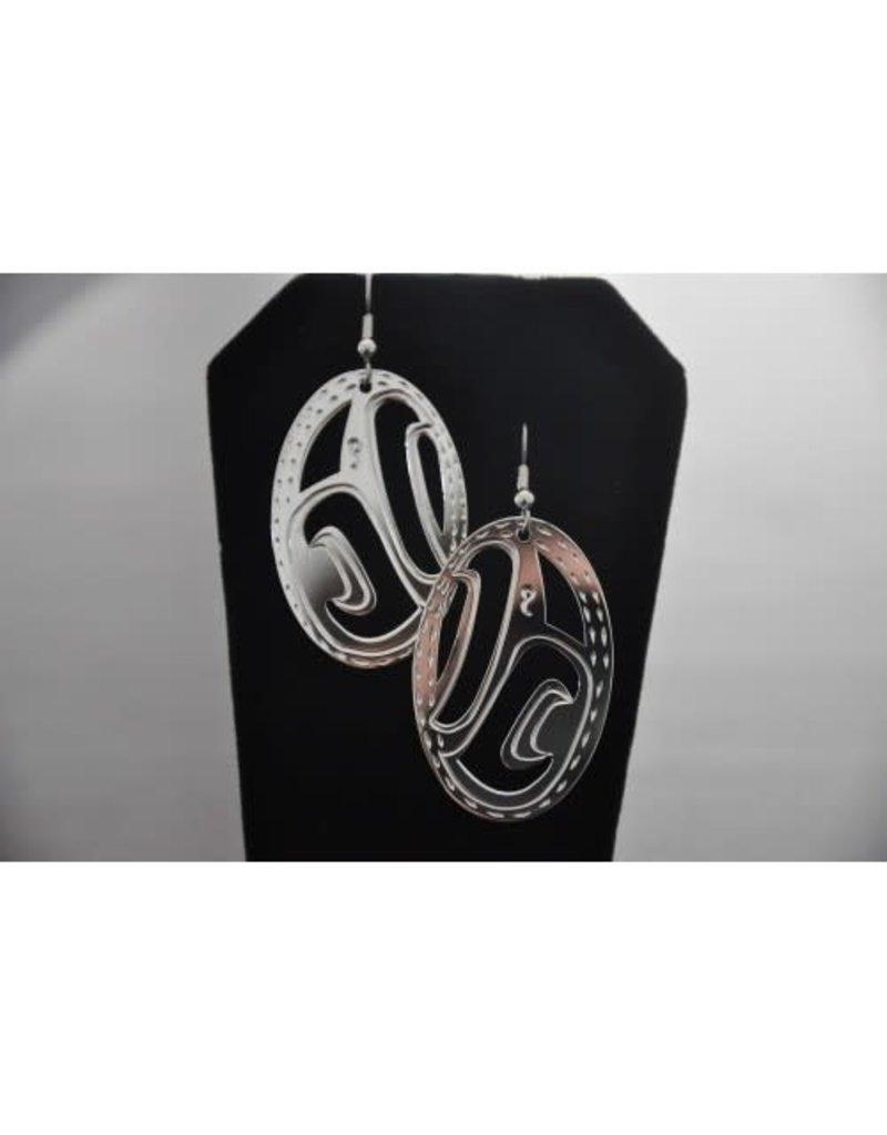 Vincent Henson Oval Cut Raven  Silver Earring