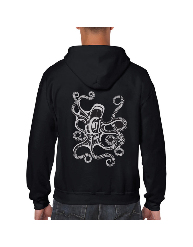 Native Northwest Hoodie Zippered - Octopus