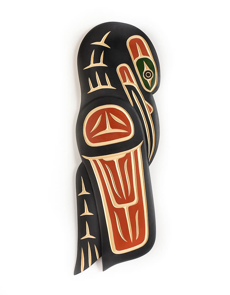 John, Harvey Red And black Raven Carving