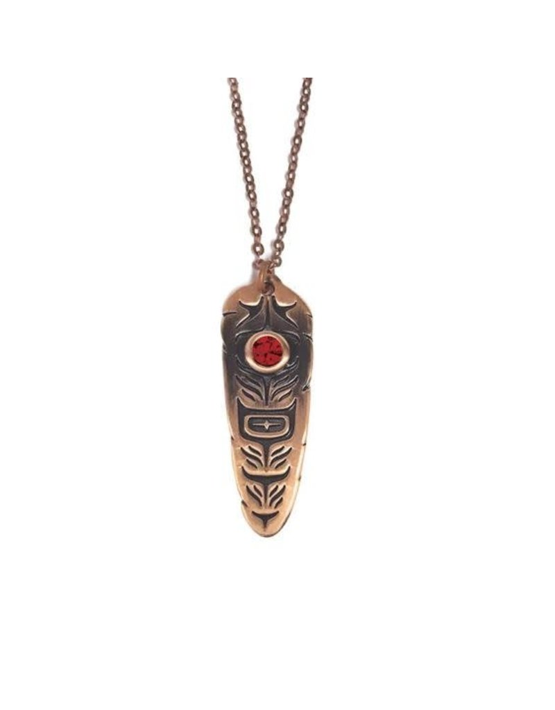 Native Northwest Sacred Feather Necklace Copper