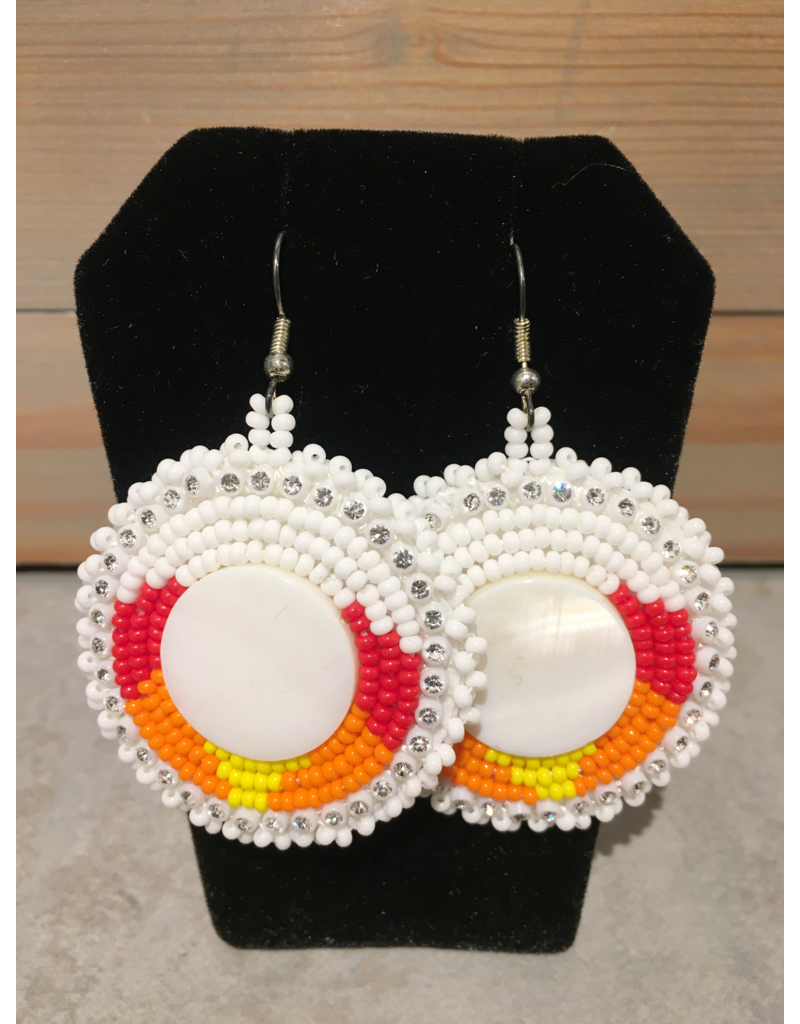 Evans, Amber White And Red Round Beaded Earring