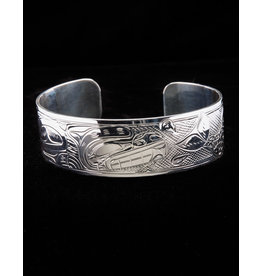 "Harper Victoria Bear And Salmon 3/4"" Silver Bracelet"