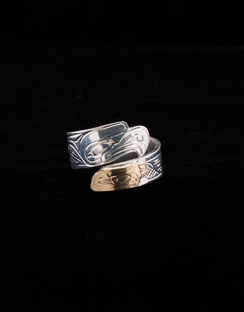 Harper Victoria Eagle Raven Gold & Silver Wrap Ring