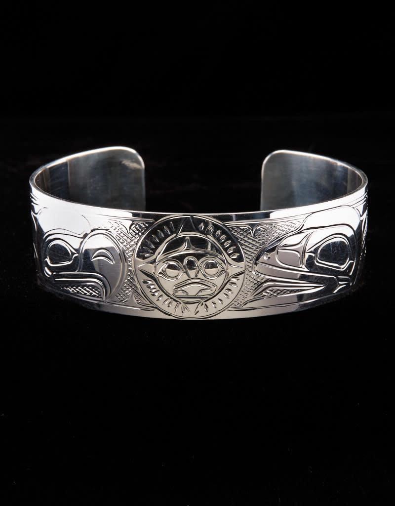 "Harper Victoria Eagle Sun Raven 3/4"" Silver Bracelet"