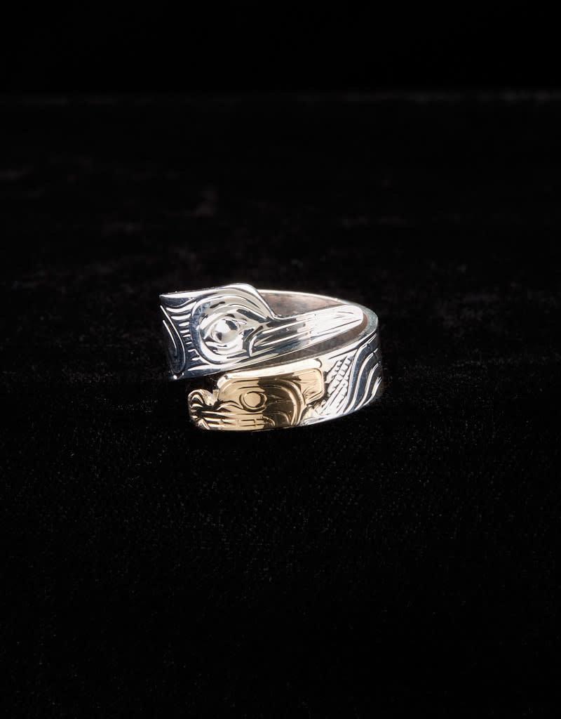 Harper Victoria Hummingbird Bear Gold & Silver Wrap Ring