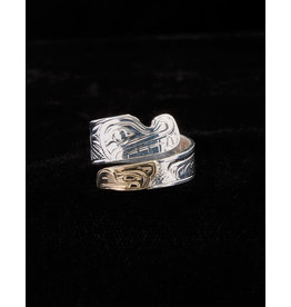 Harper Victoria Wolf & Eagle Wrap Silver & Gold Ring
