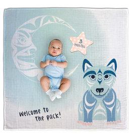 Native Northwest Wolf Baby Blanket