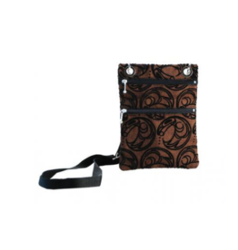 Connie Dickens Raven Brown Flocked Passport Bag