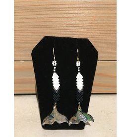 Evans, Amber Beaded Whales Tale Earring