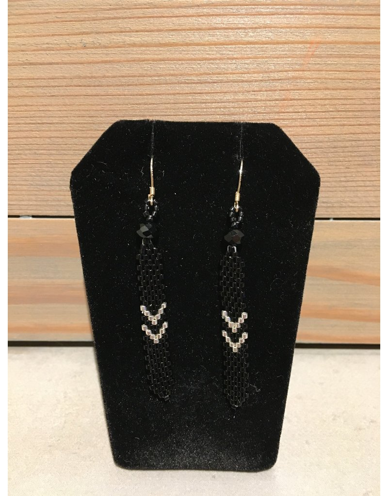 Evans, Amber Black & Silver Feather Earring