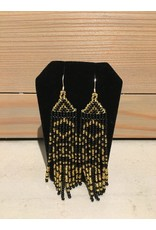 Evans, Amber Black And Gold Earring