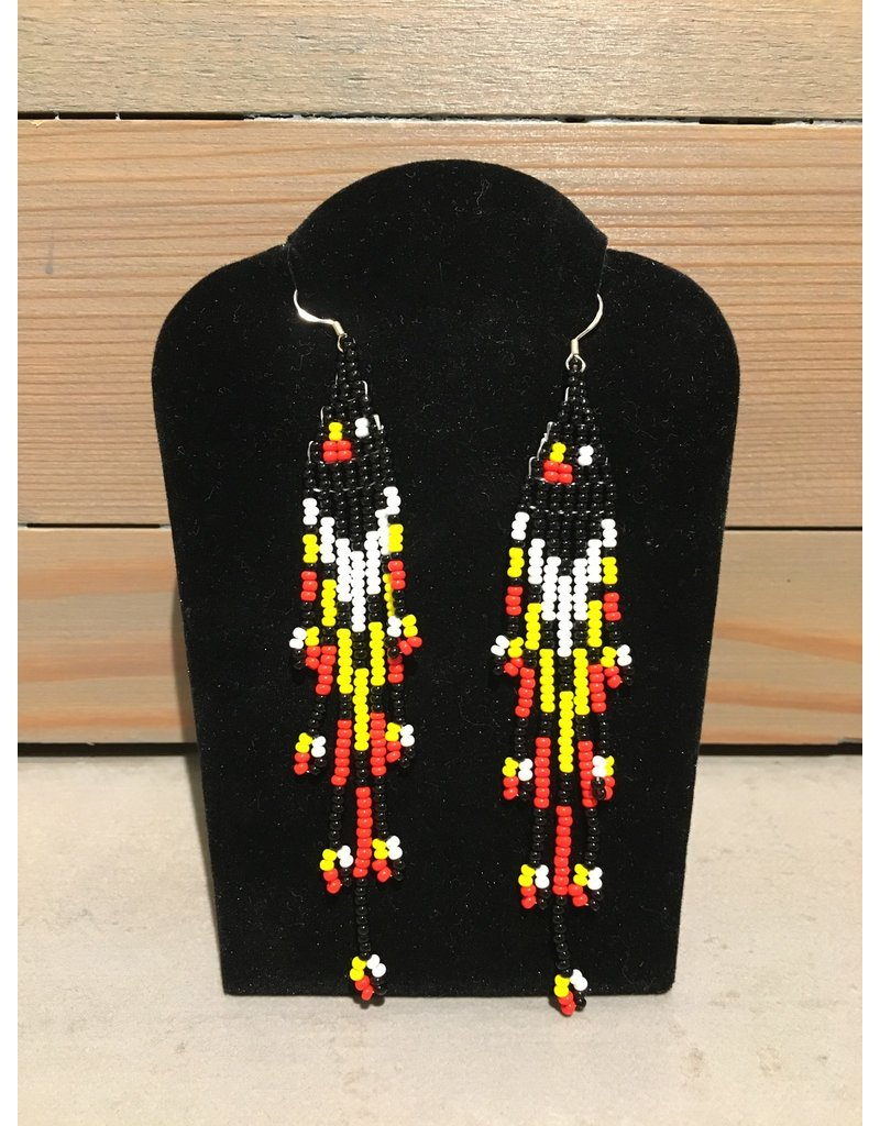 Evans, Amber Black And Yellow Beaded Earring