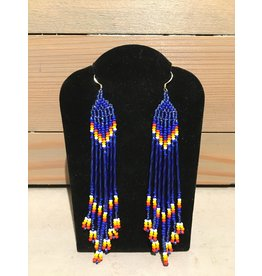 Evans, Amber Blue Beaded Earring