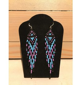 Evans, Amber Blue Purple And Black Beaded Earring