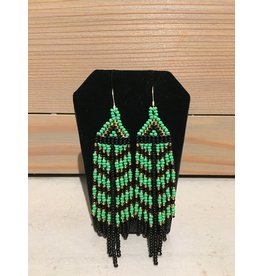 Evans, Amber Green And Black Beaded Earring