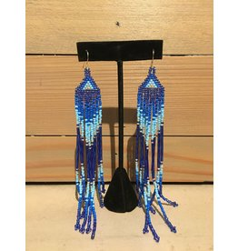 Amber Evans Long Blue And Gold Beaded Earring