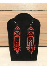 Evans, Amber Red And Black Beaded Earring