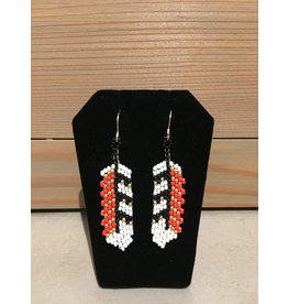 Amber Evans White Black & Red Beaded Feather Earring
