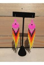 Evans, Amber Pink Beaded Earring