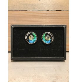Amber Evans Blue Stud Beaded Earring