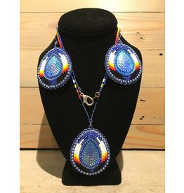 Evans, Amber Blue Beaded Set