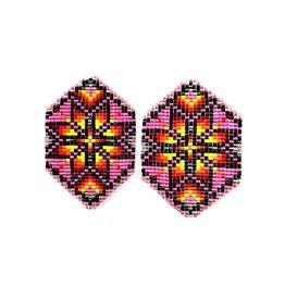 Fourdwholesale Star Loomed Cut Glass Earring