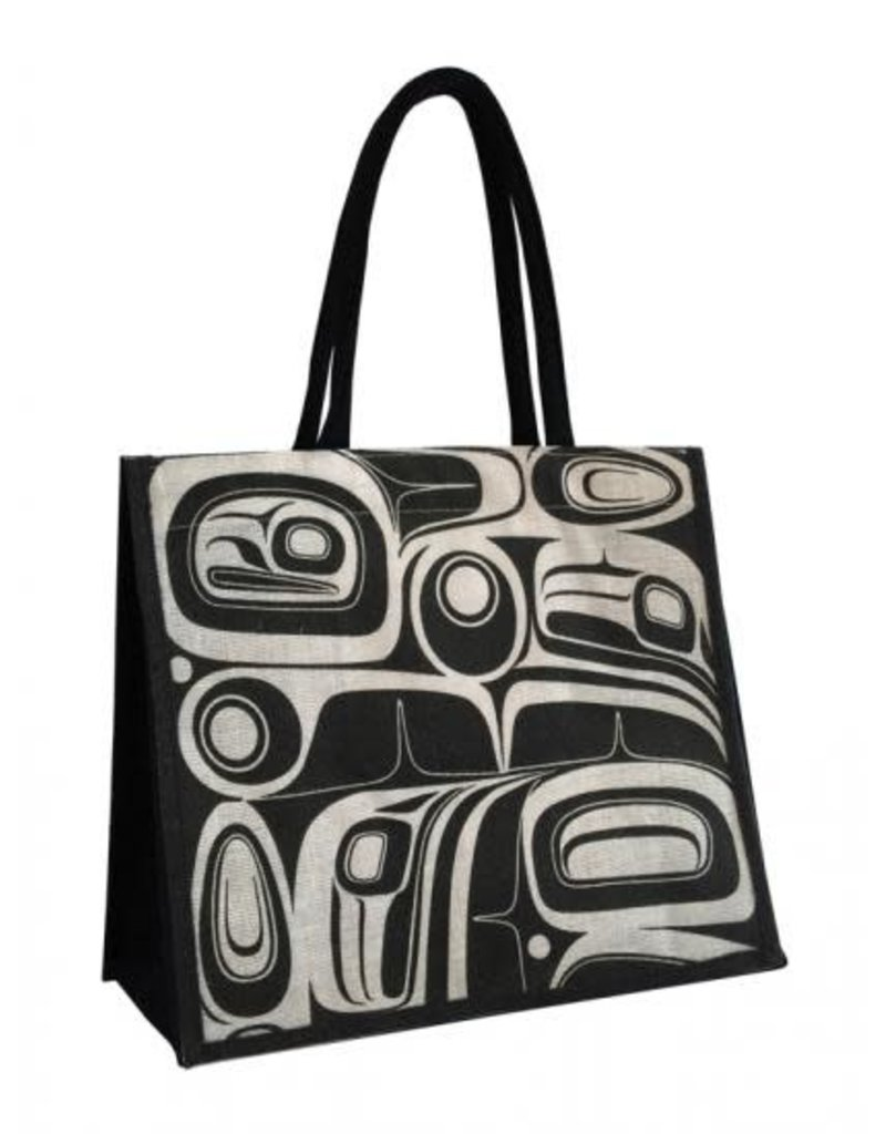 Panabo Sales Raven Jute Tote - White & Black