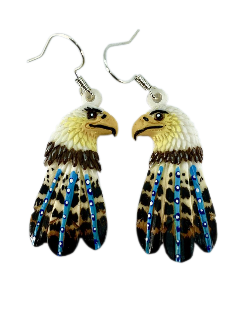 Fourdwholesale Eagle Head Painted Bone Earring