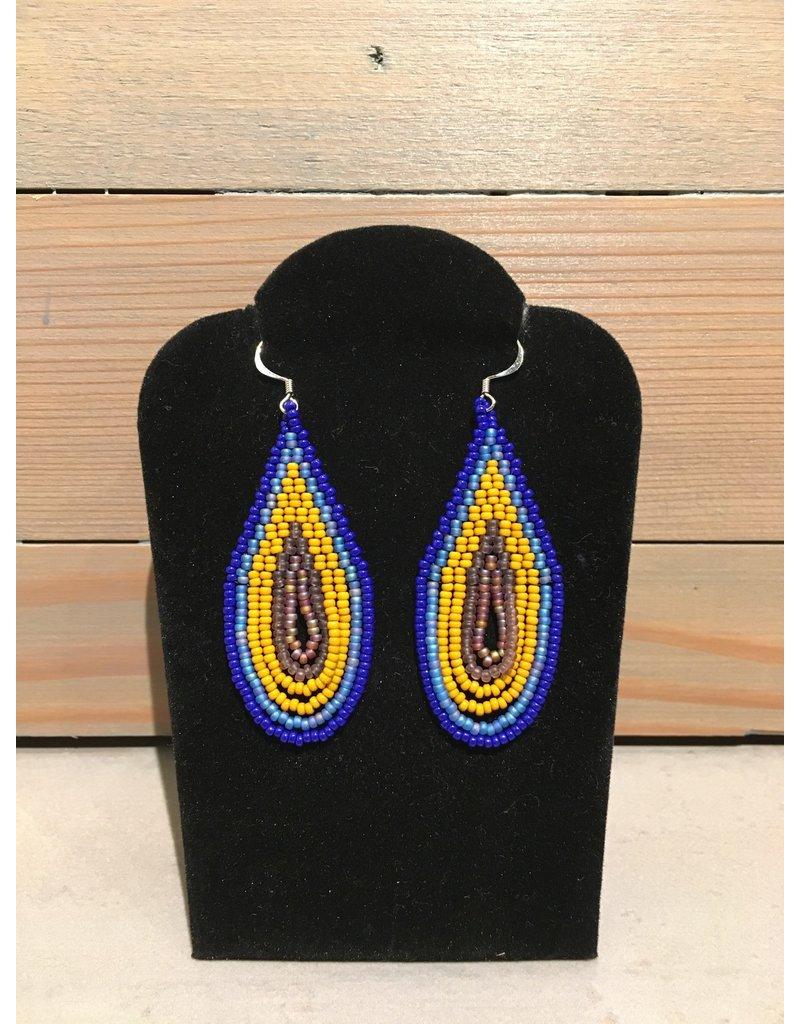 Skyla Morriseau Blue & Brown Oval Beaded Earring