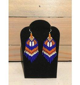 Skyla Morriseau Blue & Orange Gold Beaded Earring