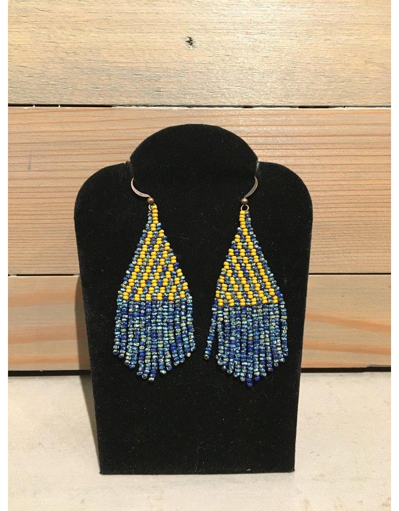 Skyla Morriseau Gold & Blue Beaded Earring