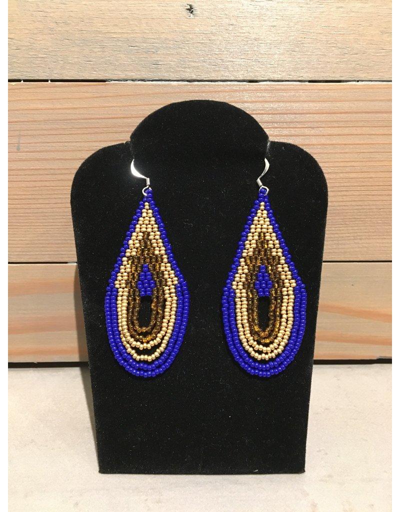 Skyla Morriseau Gold & Blue Oval Shape Beaded Earring