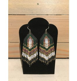 Skyla Morriseau Green, Gold & Black Beaded Earring