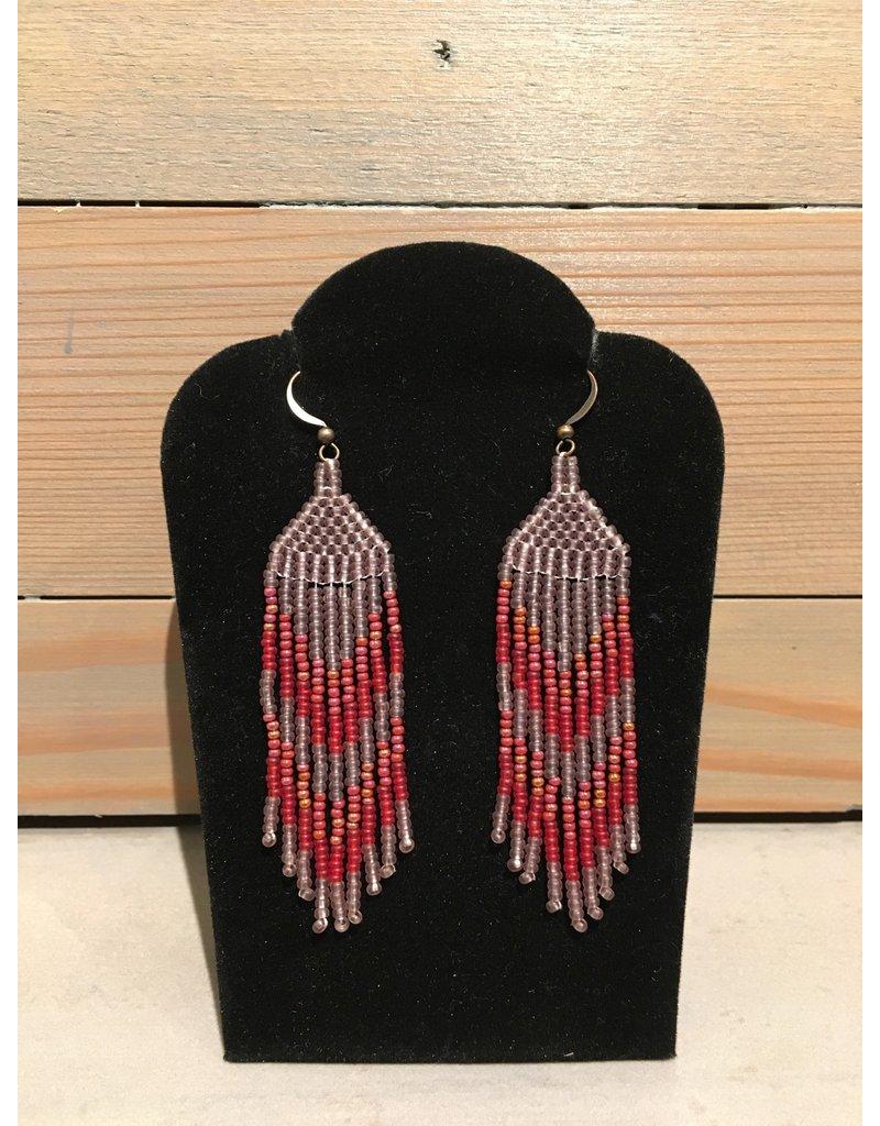 Skyla Morriseau Purple & Red Beaded Earring