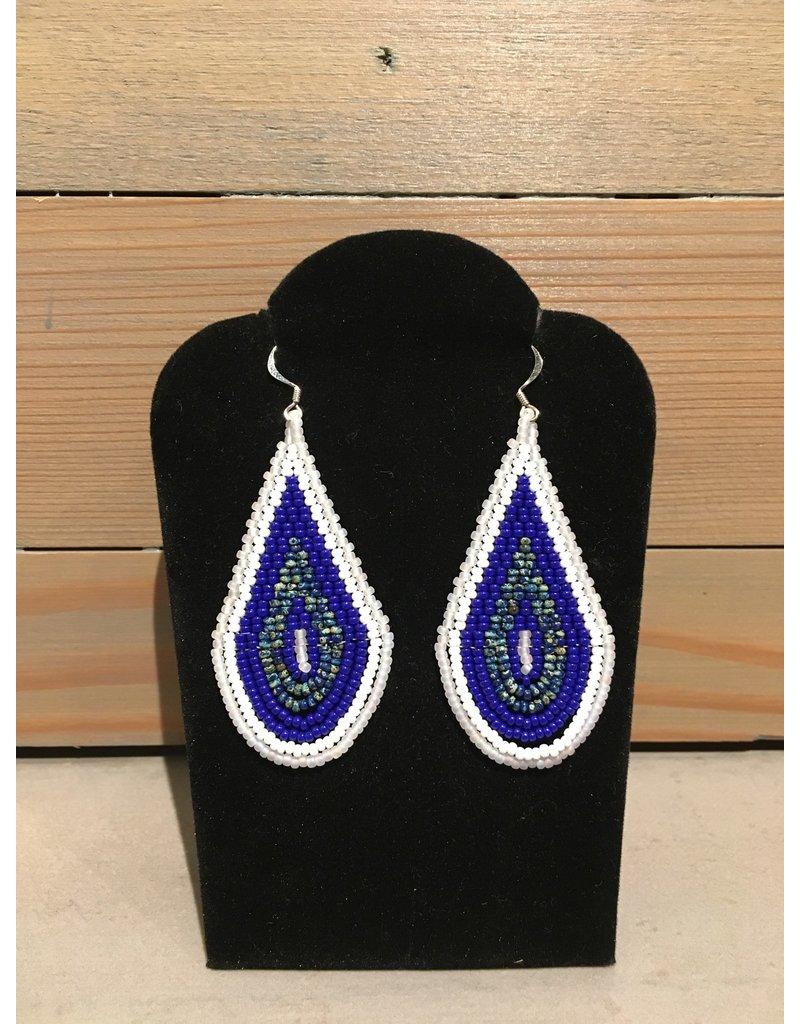 Skyla Morriseau White & Blue Oval Beaded Earring