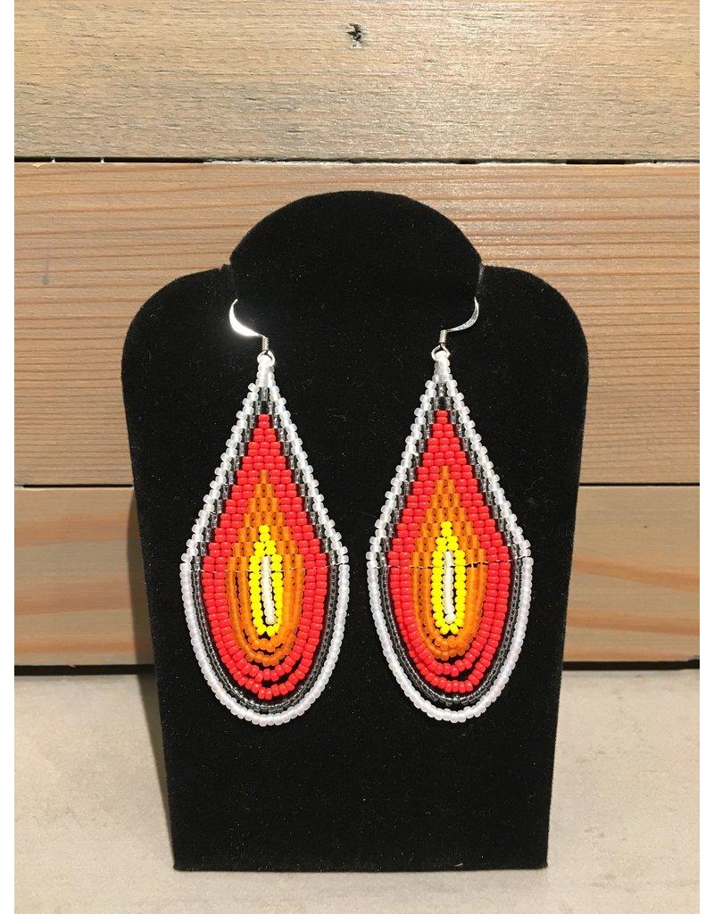 Skyla Morriseau White & Orange Oval Beaded Earring