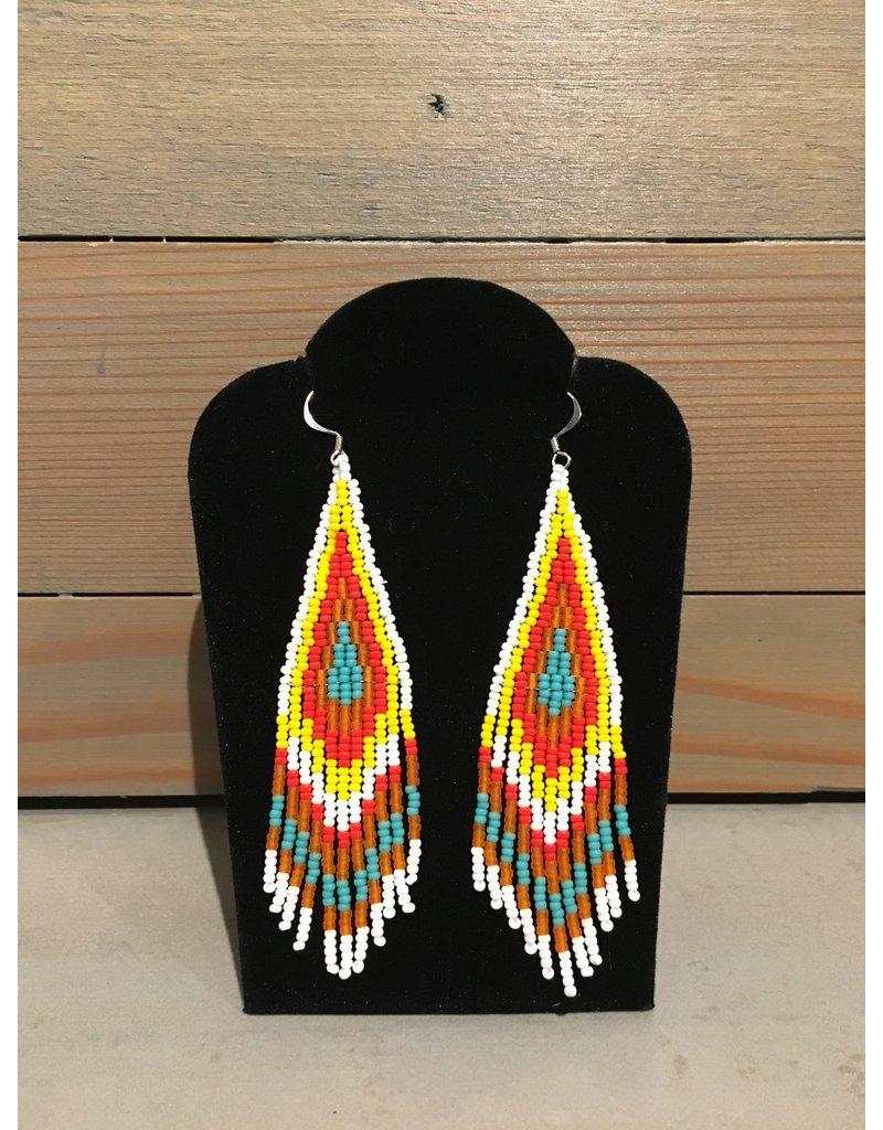 Skyla Morriseau Yellow & Red Beaded Earring