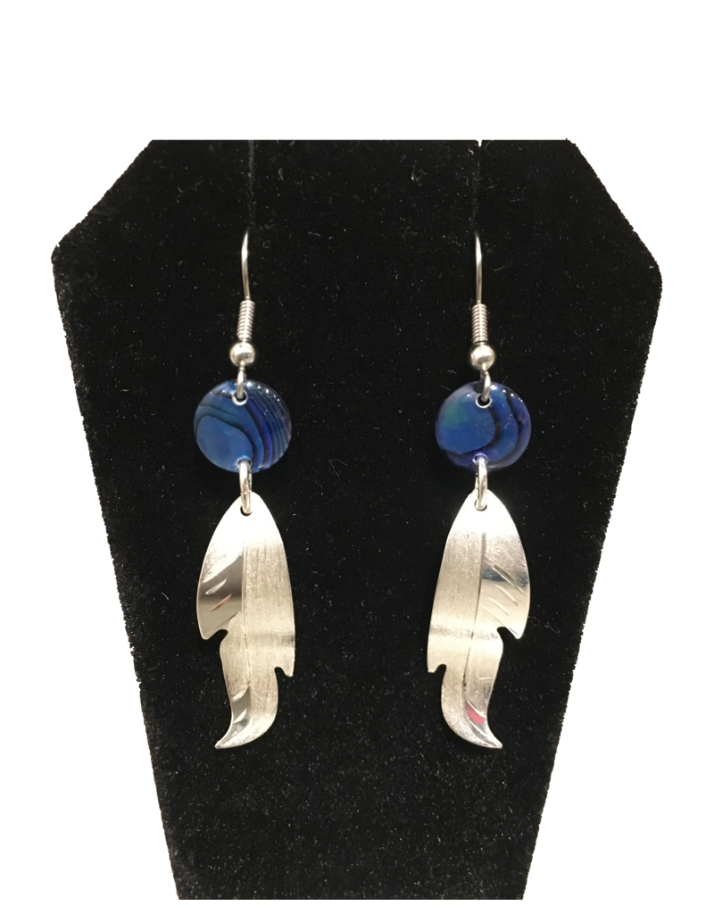 Vincent Henson Feather Silver Earring/Blue Bead