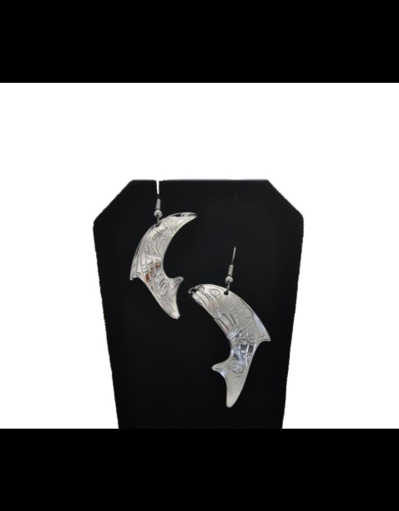 Vincent Henson Salmon Silver Earring Medium