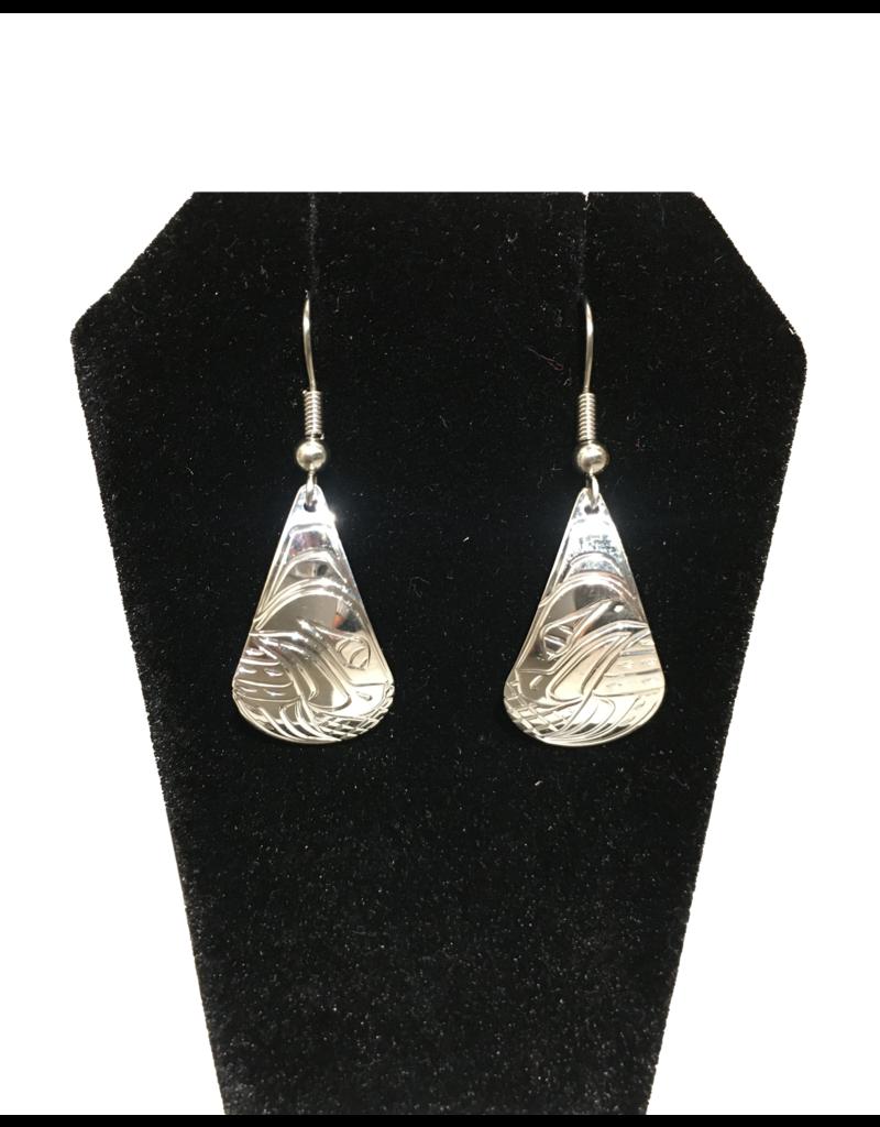 Vincent Henson Teardrop Eagle Silver Earring