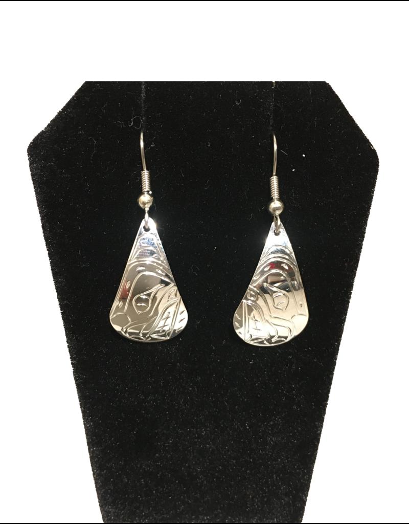 Vincent Henson Teardrop Bear Silver Earring