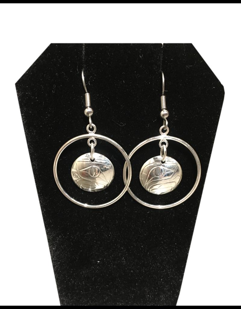 Nancy Dawson Circle Eagle Silver Large Earring
