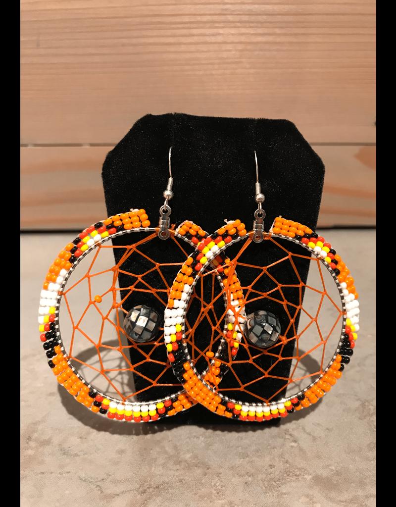 Evans, Amber Large Dream Catcher Orange Beaded Earring