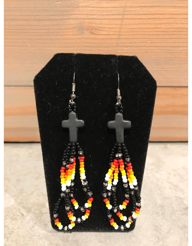 Fourdwholesale Beaded Hoop Earring/Crystal