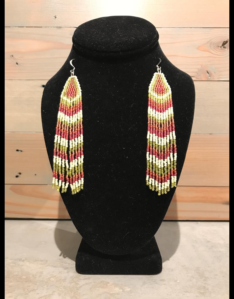 Skyla Morriseau Extra Long Gold And Red Beaded Earring